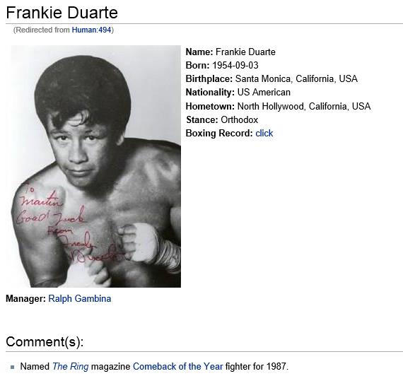 Frank Duarte Boxing Record